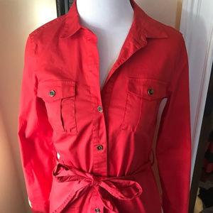 Banana Republic Red Shirt Dress Sz 2